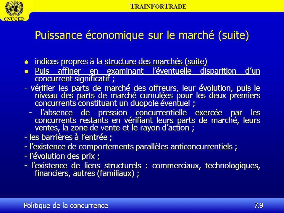 Puissance économique sur le marché (suite)