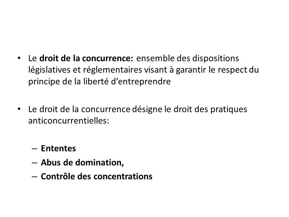 Le droit de la concurrence: ensemble des dispositions législatives et réglementaires visant à garantir le respect du principe de la liberté d'entreprendre