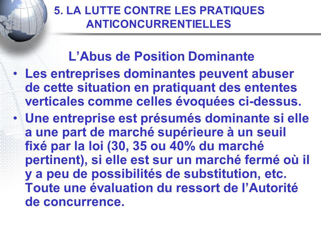 5. LA LUTTE CONTRE LES PRATIQUES ANTICONCURRENTIELLES