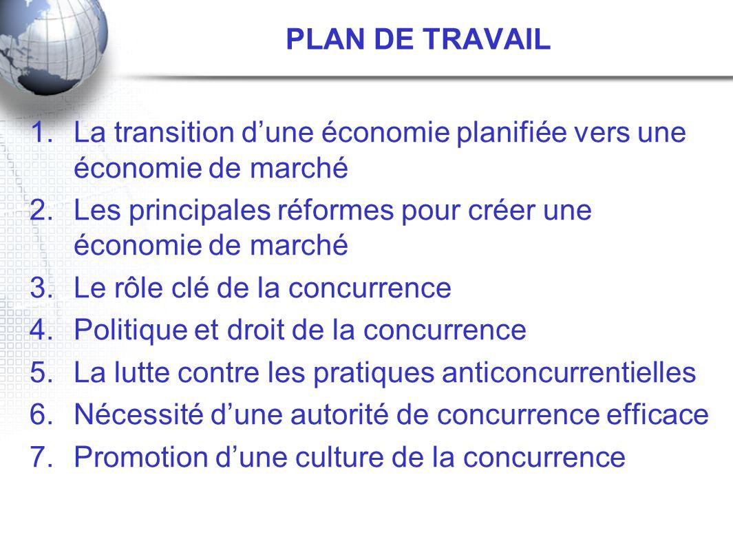 PLAN DE TRAVAIL La transition d'une économie planifiée vers une économie de marché. Les principales réformes pour créer une économie de marché.