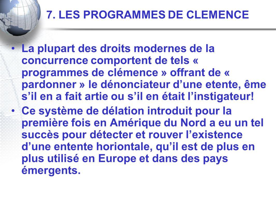7. LES PROGRAMMES DE CLEMENCE