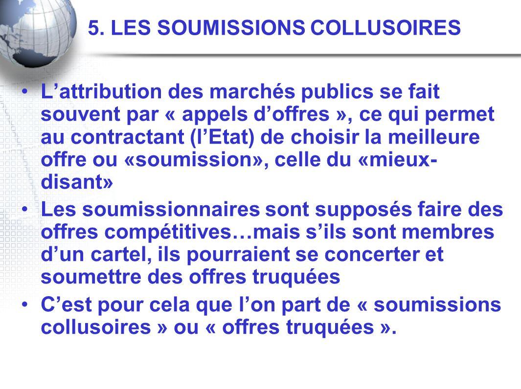 5. LES SOUMISSIONS COLLUSOIRES