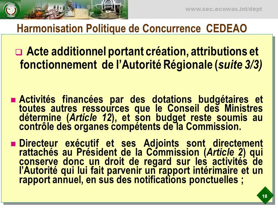 Harmonisation Politique de Concurrence CEDEAO