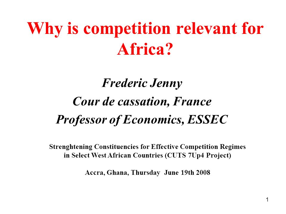 Why is competition relevant for Africa