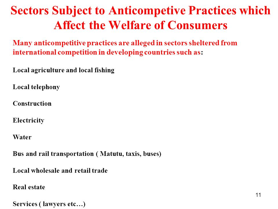 Sectors Subject to Anticompetive Practices which Affect the Welfare of Consumers