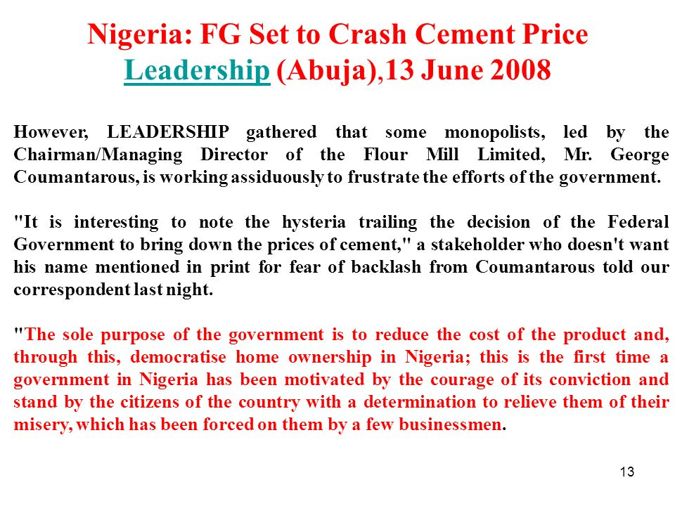 Nigeria: FG Set to Crash Cement Price Leadership (Abuja),13 June 2008