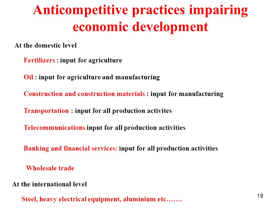 Anticompetitive practices impairing economic development