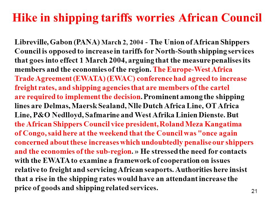 Hike in shipping tariffs worries African Council