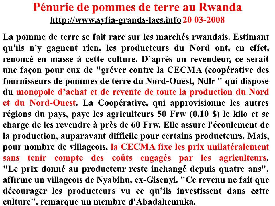 Pénurie de pommes de terre au Rwanda http://www. syfia-grands-lacs