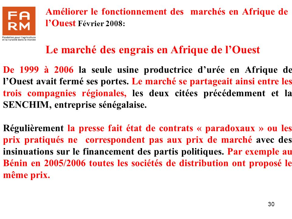 Le marché des engrais en Afrique de l'Ouest
