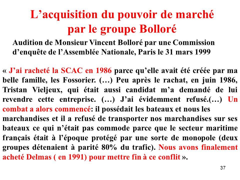 L'acquisition du pouvoir de marché par le groupe Bolloré
