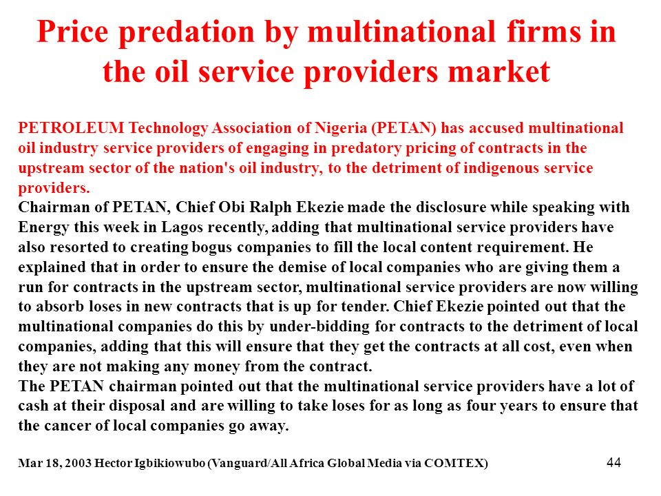 Price predation by multinational firms in the oil service providers market