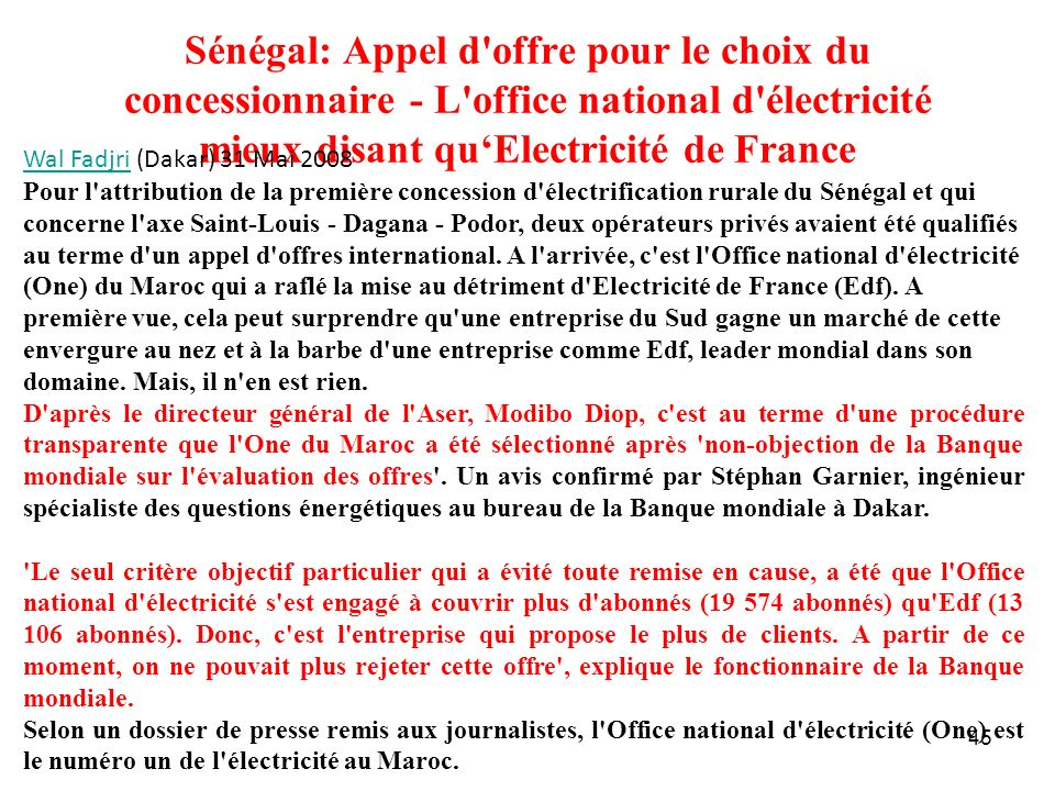 Sénégal: Appel d offre pour le choix du concessionnaire - L office national d électricité mieux disant qu'Electricité de France
