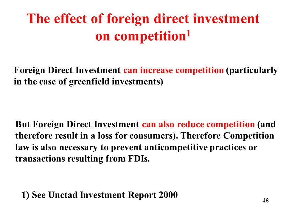 The effect of foreign direct investment on competition1