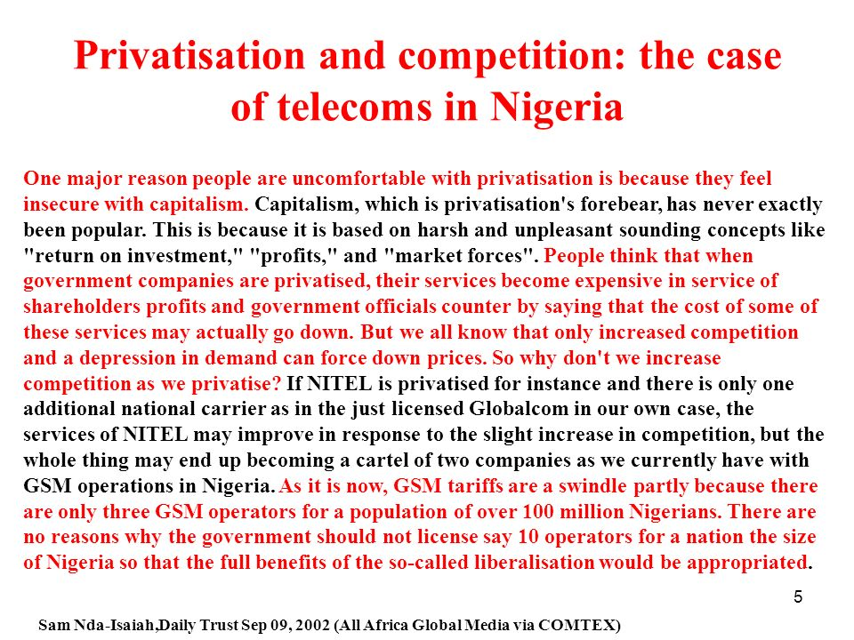 Privatisation and competition: the case of telecoms in Nigeria