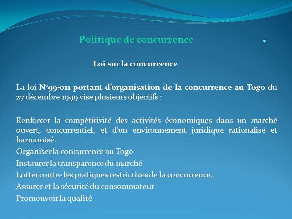 . Politique de concurrence Loi sur la concurrence