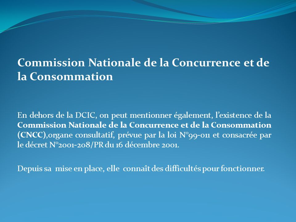 Commission Nationale de la Concurrence et de la Consommation