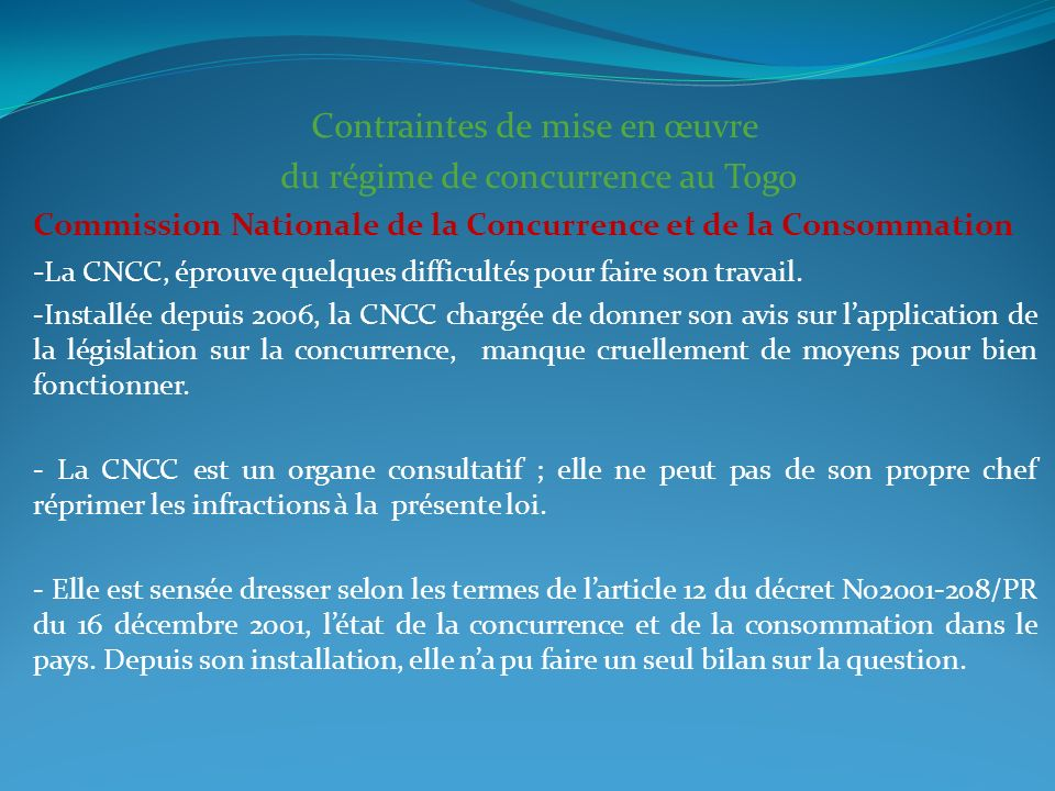 Contraintes de mise en œuvre du régime de concurrence au Togo