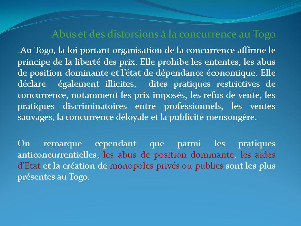 Abus et des distorsions à la concurrence au Togo