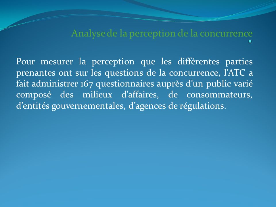 . Analyse de la perception de la concurrence