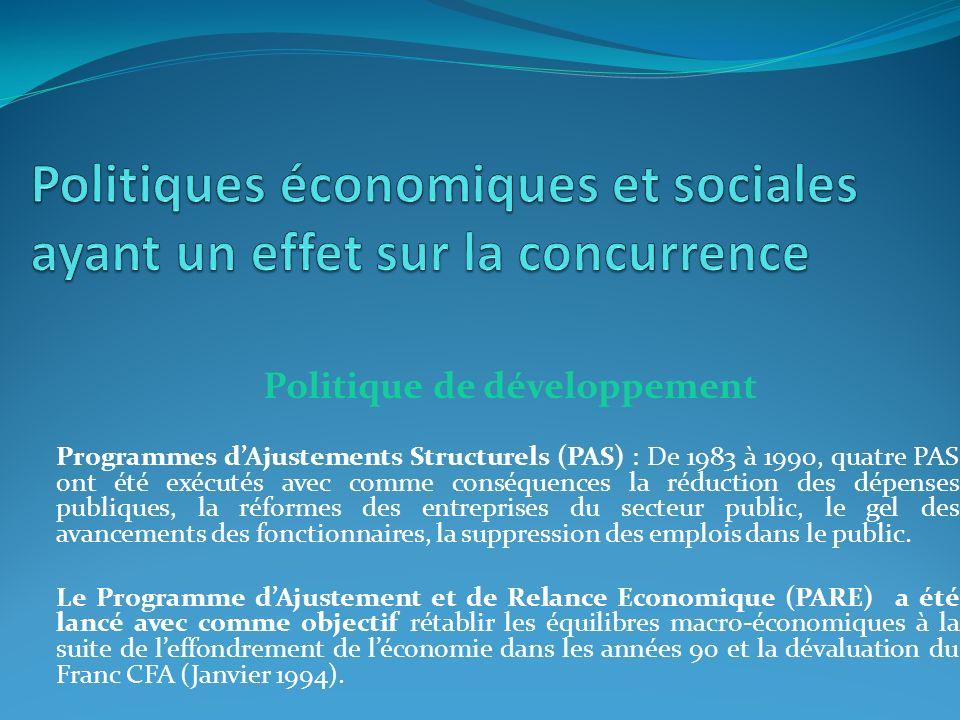 Politiques économiques et sociales ayant un effet sur la concurrence