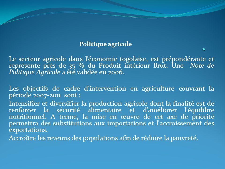 . Politique agricole