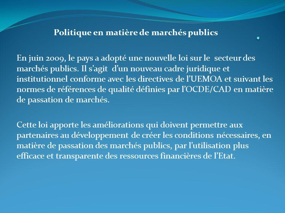 . Politique en matière de marchés publics