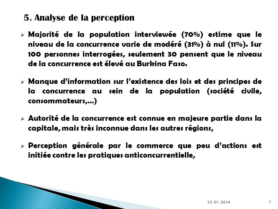 5. Analyse de la perception