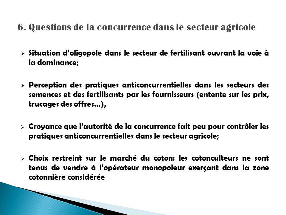 6. Questions de la concurrence dans le secteur agricole