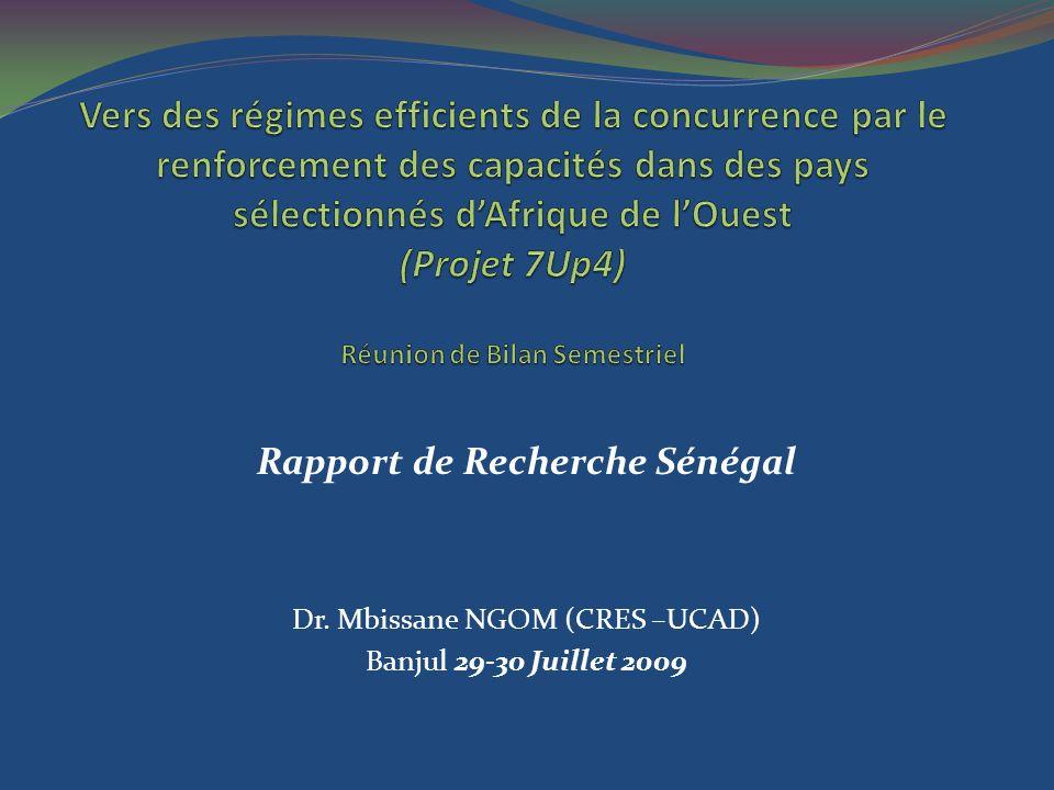 Vers des régimes efficients de la concurrence par le renforcement des capacités dans des pays sélectionnés d'Afrique de l'Ouest (Projet 7Up4) Réunion de Bilan Semestriel