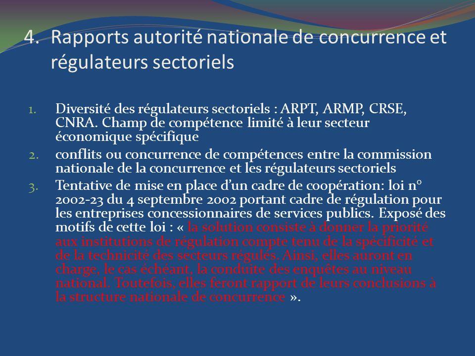 Rapports autorité nationale de concurrence et régulateurs sectoriels