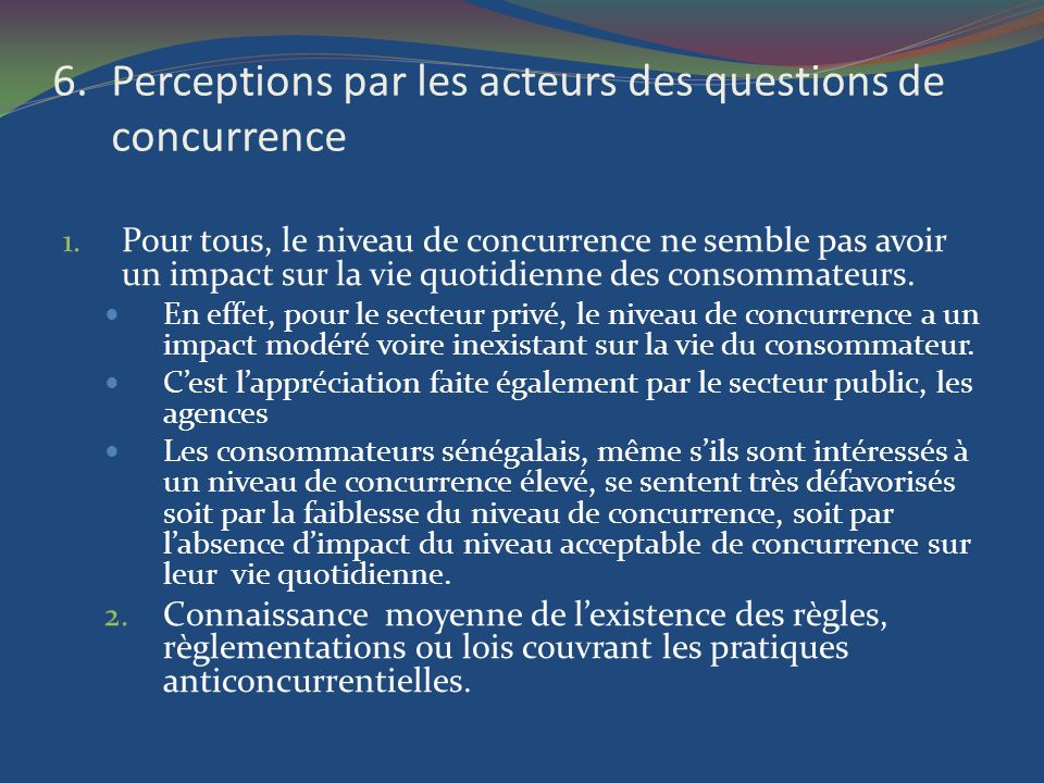 Perceptions par les acteurs des questions de concurrence