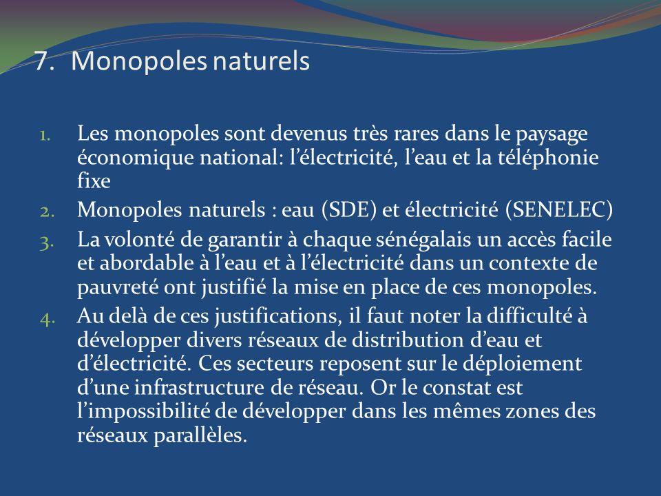 Monopoles naturels Les monopoles sont devenus très rares dans le paysage économique national: l'électricité, l'eau et la téléphonie fixe.