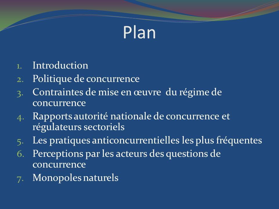 Plan Introduction Politique de concurrence