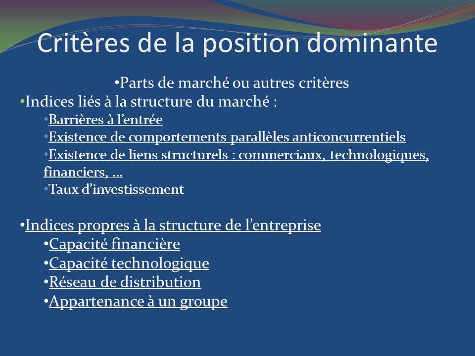 Critères de la position dominante