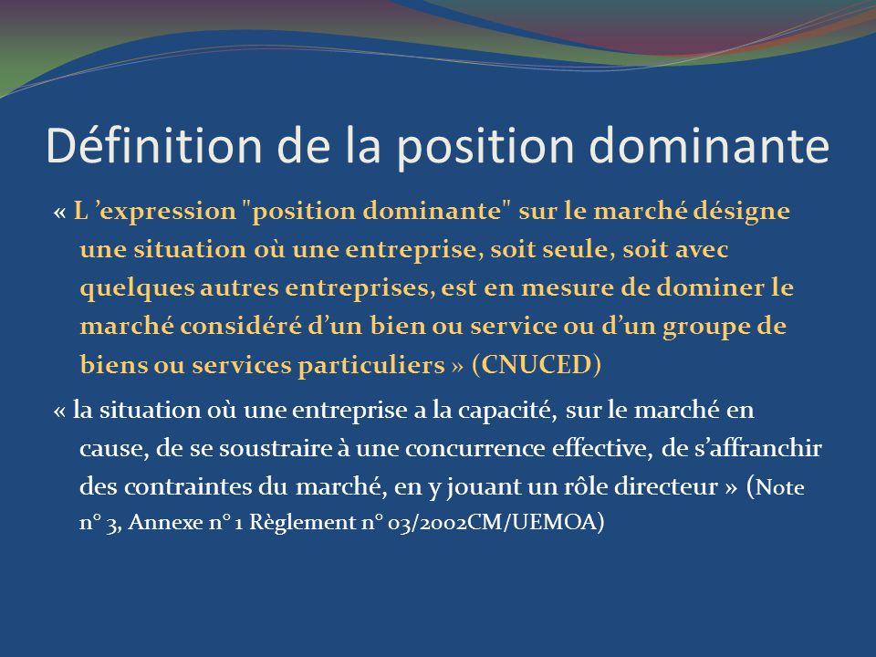 Définition de la position dominante