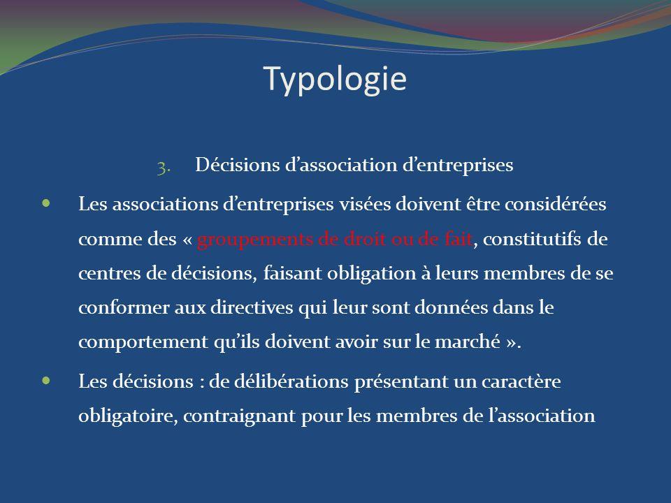 Décisions d'association d'entreprises