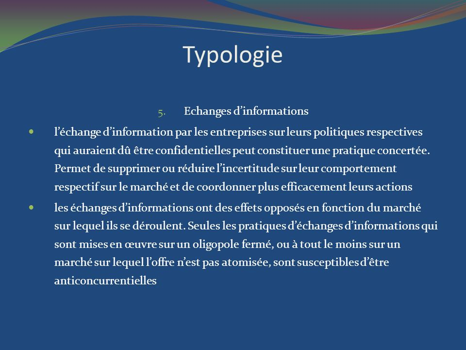 Echanges d'informations