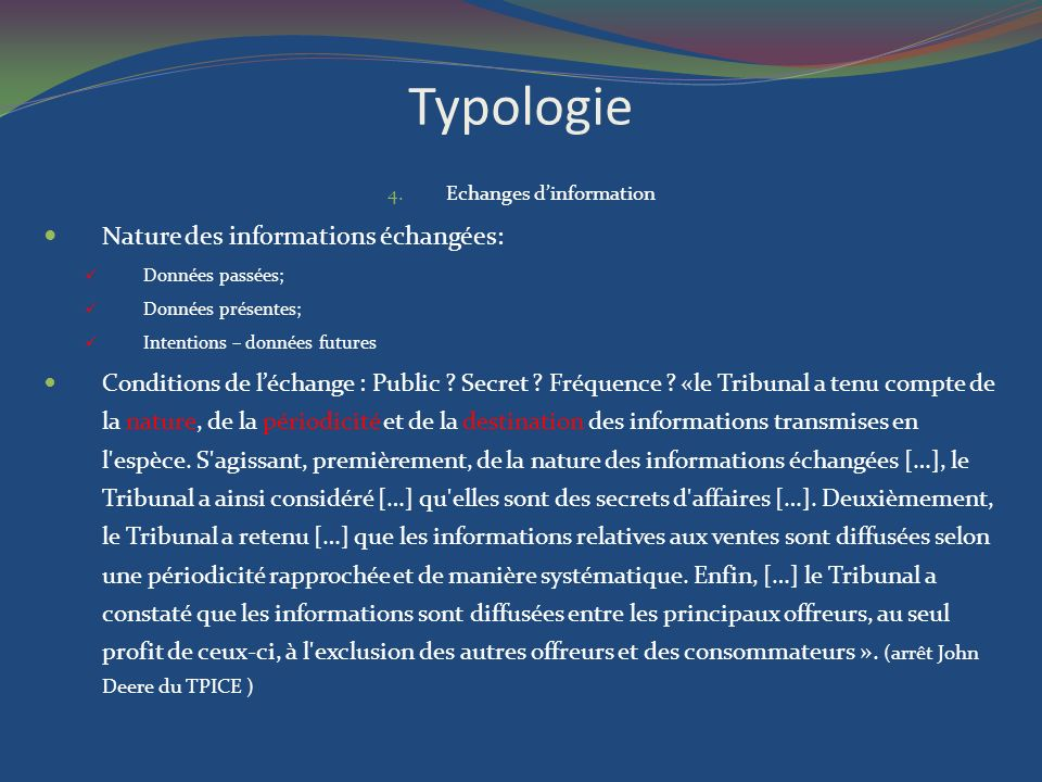 Echanges d'information
