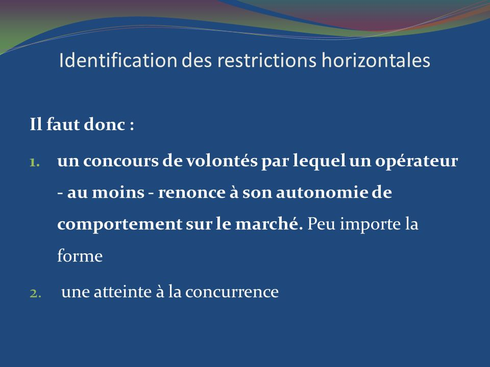 Identification des restrictions horizontales