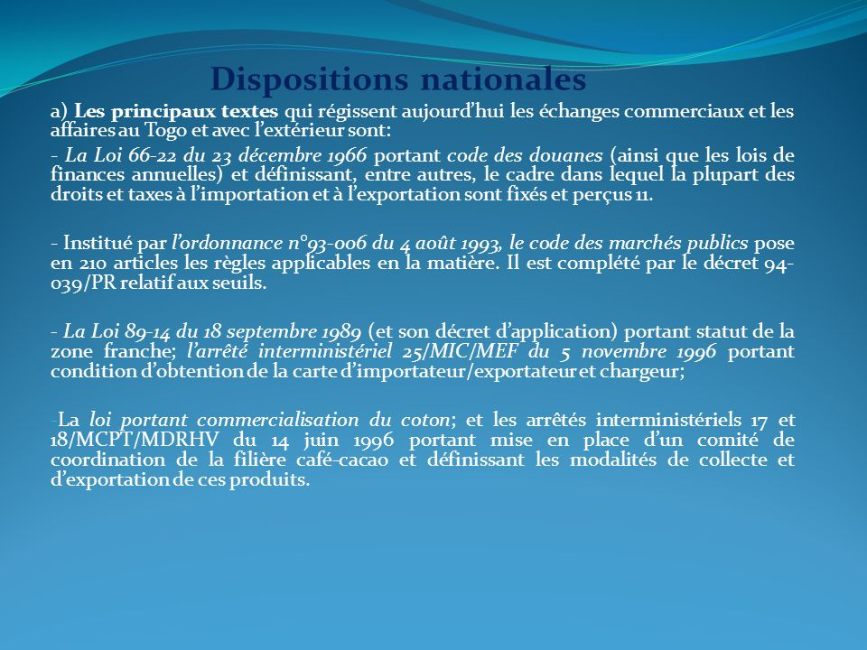Dispositions nationales