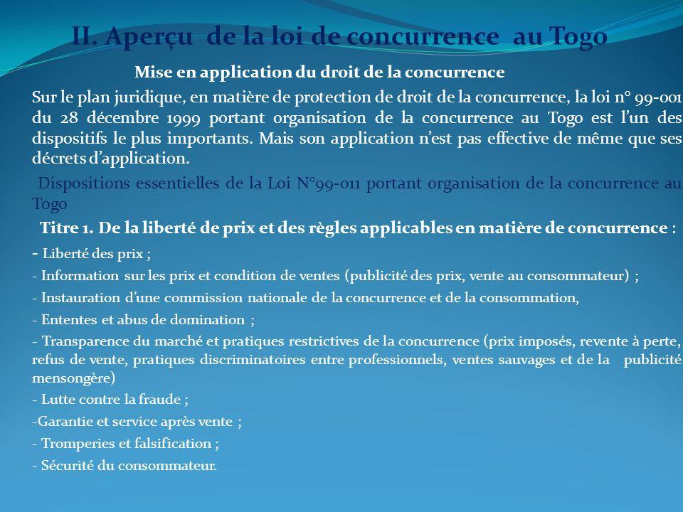 II. Aperçu de la loi de concurrence au Togo