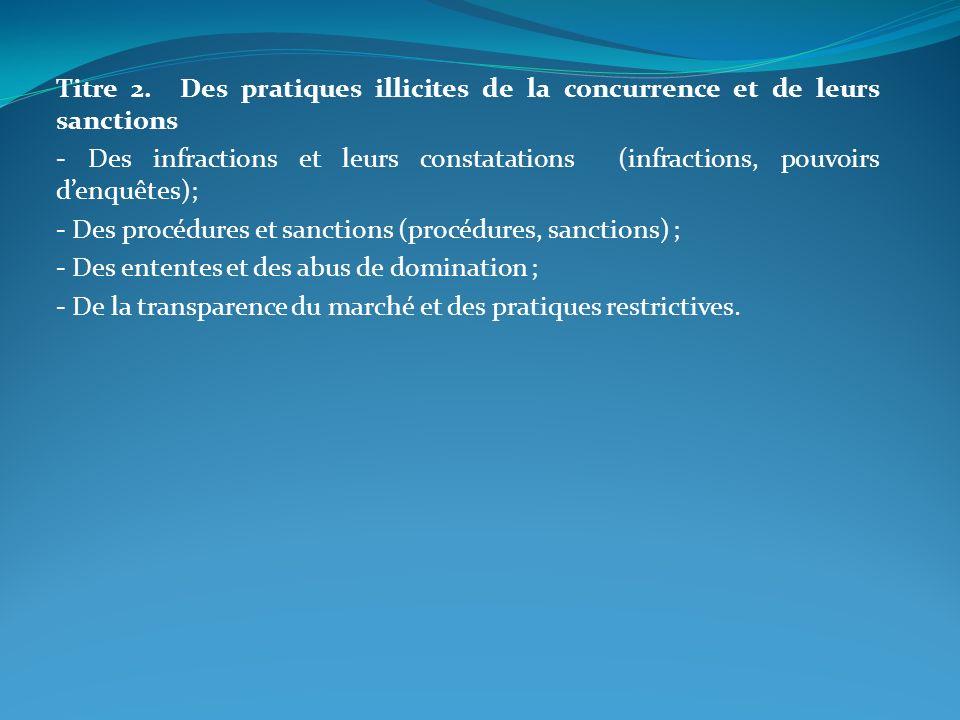 Titre 2. Des pratiques illicites de la concurrence et de leurs sanctions