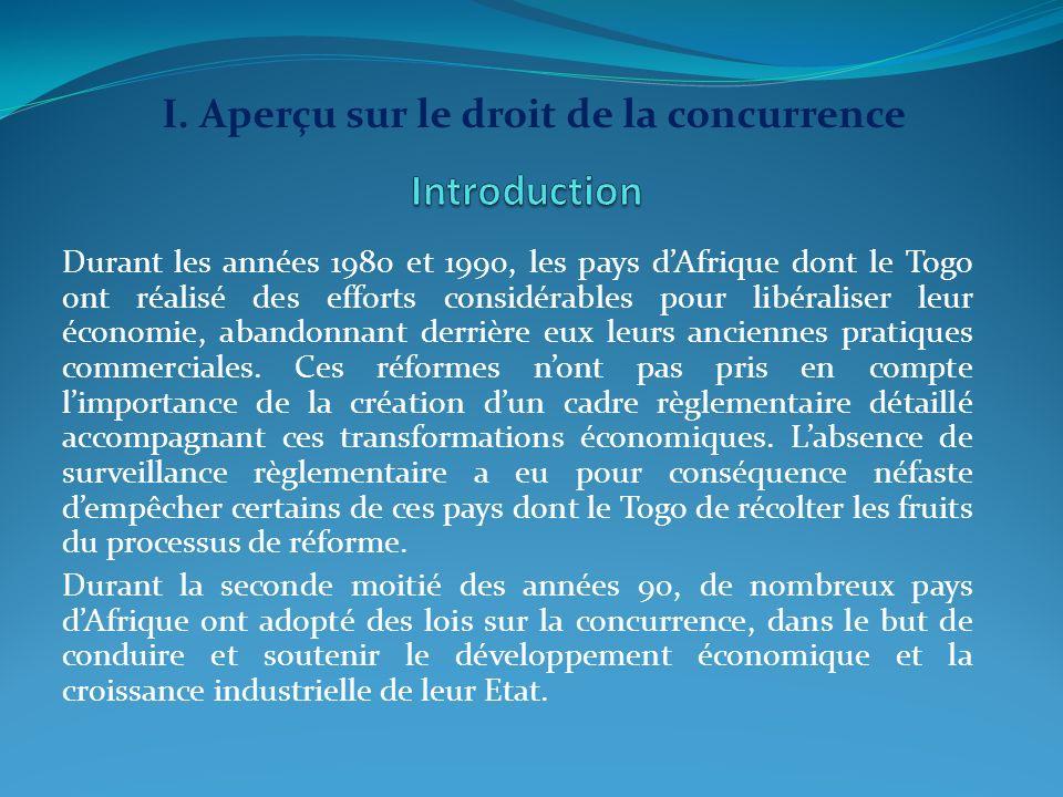Introduction I. Aperçu sur le droit de la concurrence