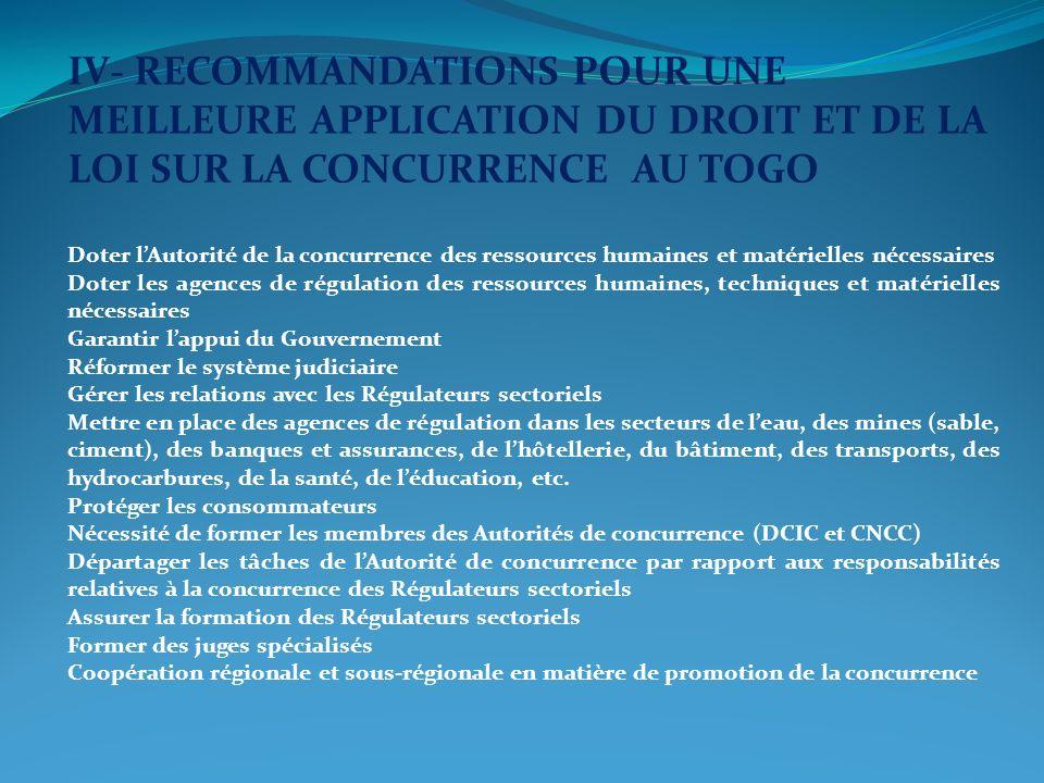 IV- RECOMMANDATIONS POUR UNE MEILLEURE APPLICATION DU DROIT ET DE LA LOI SUR LA CONCURRENCE AU TOGO
