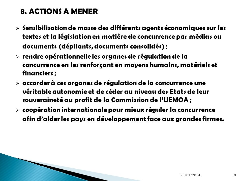 8. ACTIONS A MENER