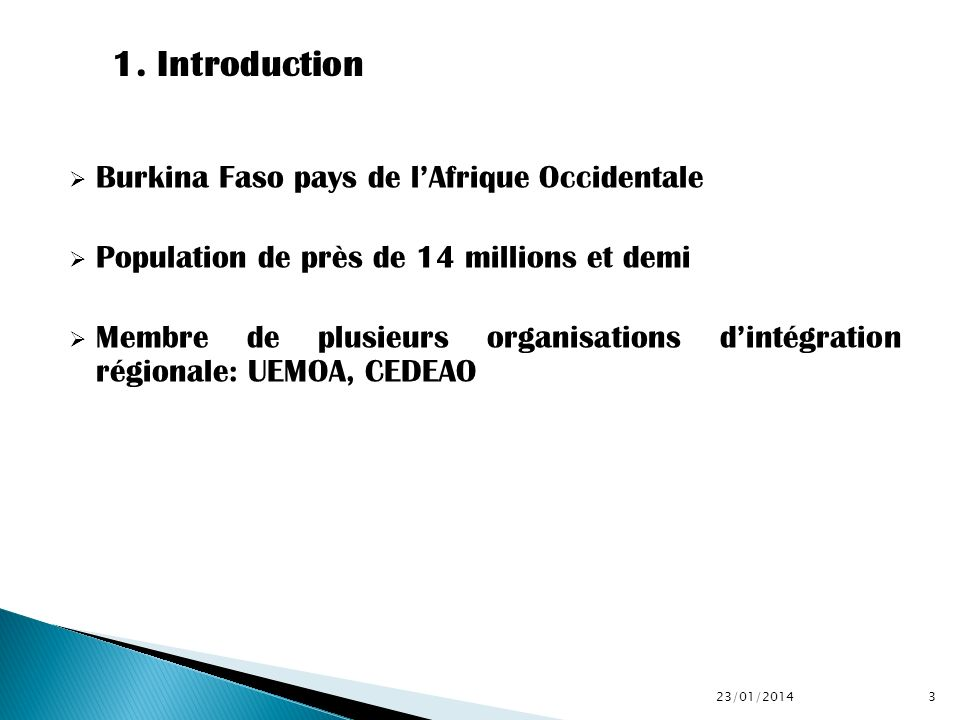 1. Introduction Burkina Faso pays de l'Afrique Occidentale