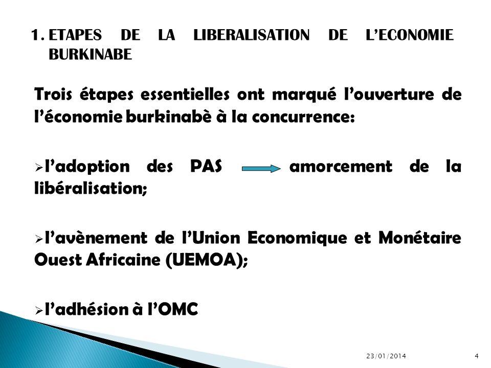 l'adoption des PAS amorcement de la libéralisation;