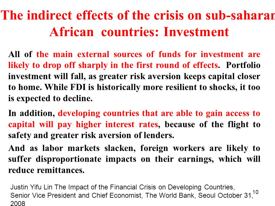 The indirect effects of the crisis on sub-saharan African countries: Investment