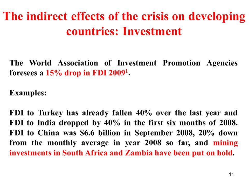 The indirect effects of the crisis on developing countries: Investment
